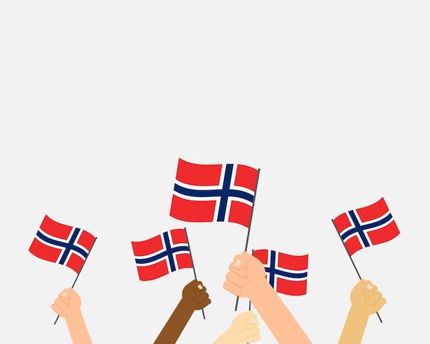 Vetorial, ilustração, de, mãos, segurando, noruega, bandeiras