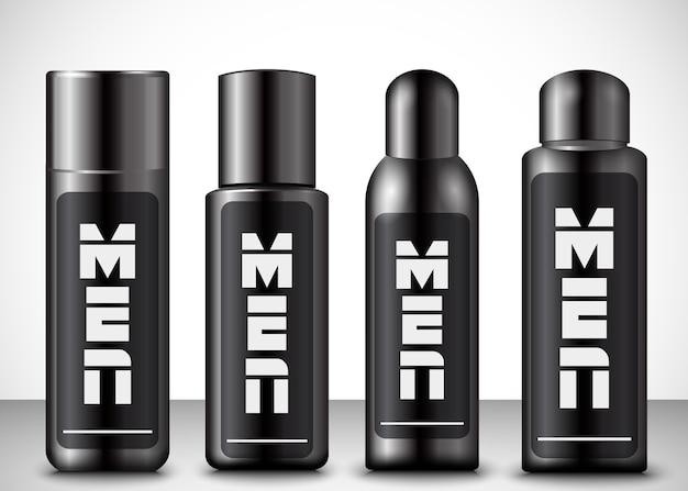 Vetorial, ilustração, de, men, cosmético, garrafas