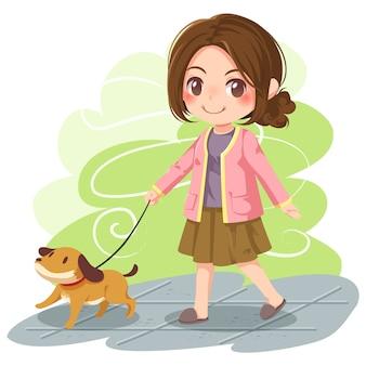 Vetorial, ilustração, de, menina, cachorro andando