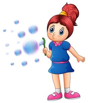 Vetorial, ilustração, de, menininha, soprando, bolhas