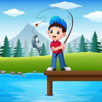 Vetorial, ilustração, de, menino, pesca, em, a, rio