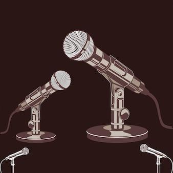Vetorial, ilustração, de, microfone, com, retro vintage, estilo
