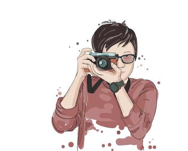 Vetorial, ilustração, de, mulher, levando, foto, com, câmera foto