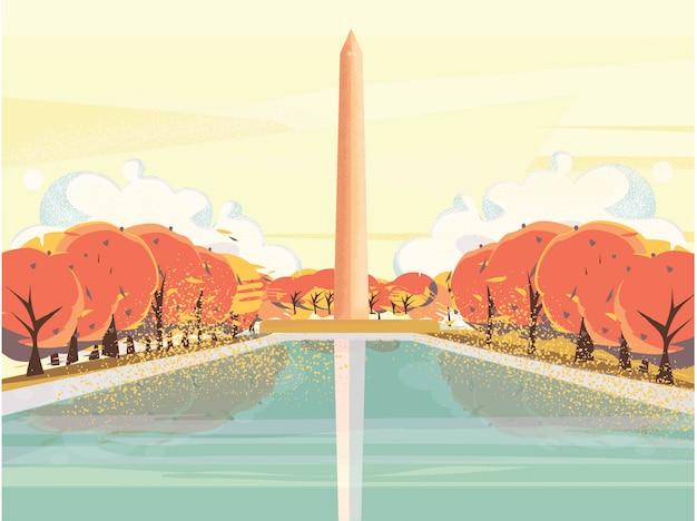 Vetorial, ilustração, de, nacional, centro comercial eua washington, dc, monumento, em, outono