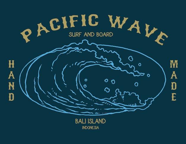 Vetorial, ilustração, de, onda oceano