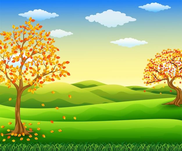 Vetorial, ilustração, de, outono, árvore, com, queda, folhas