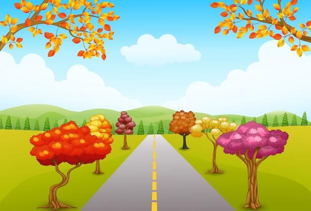 Vetorial, ilustração, de, outono, parque, paisagem, com, um, estrada, e, árvores