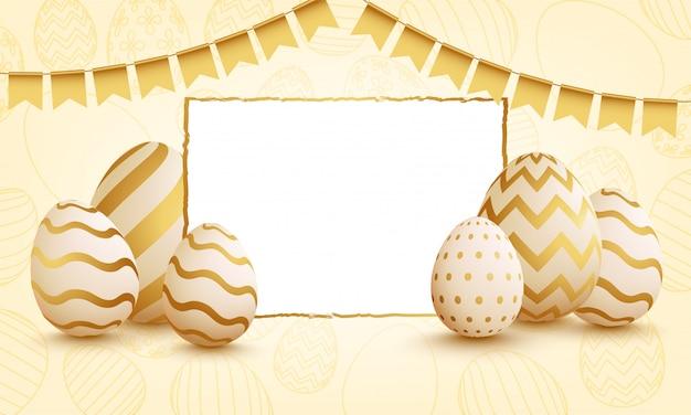 Vetorial, ilustração, de, ovos páscoa, ligado, lustroso, fundo