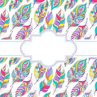 Vetorial, ilustração, de, padrão, com, coloridos, penas