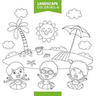 Vetorial, ilustração, de, paisagem, coloração, página