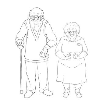 Vetorial, ilustração, de, par idoso