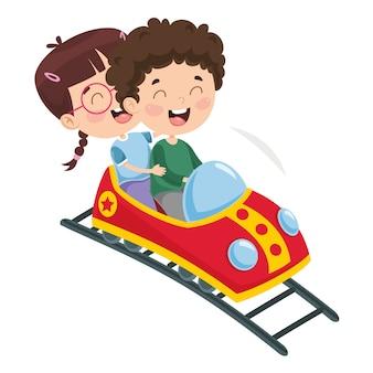 Vetorial, ilustração, de, parque divertimento