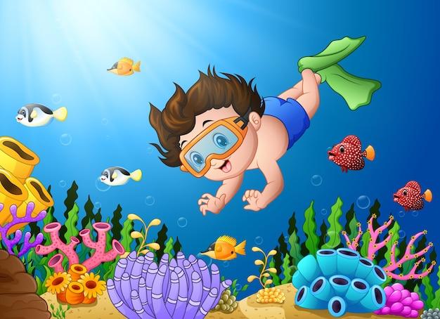 Vetorial, ilustração, de, pequeno, menino, mergulhar, mar