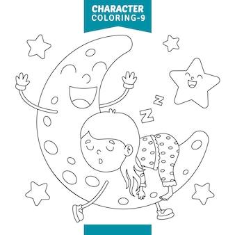 Vetorial, ilustração, de, personagem, coloração, página