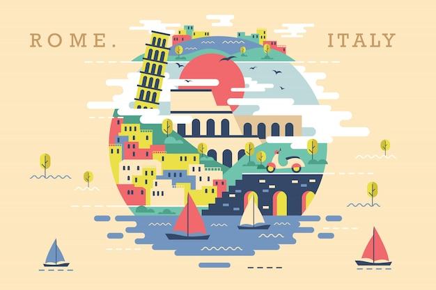 Vetorial, ilustração, de, roma, itália