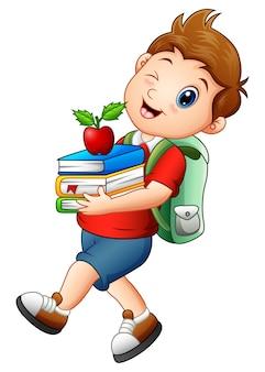 Vetorial, ilustração, de, schoolboy, carregar livros, e, maçã