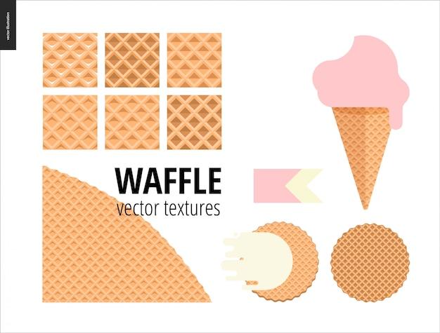 Vetorial, ilustração, de, seis, seamless, waffle, padrões