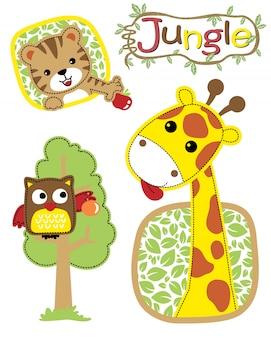 Vetorial, ilustração, de, selva, animais, caricatura