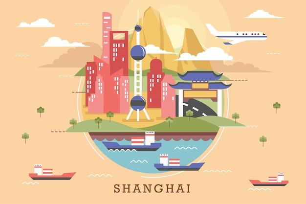 Vetorial, ilustração, de, shanghai
