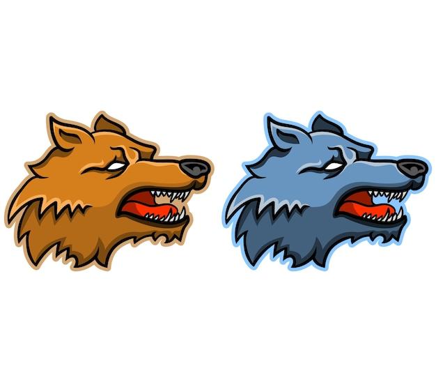 Vetorial, ilustração, de, simples, lobo, cabeça