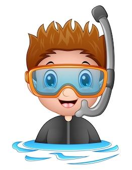 Vetorial, ilustração, de, snorkeling, menino, caricatura