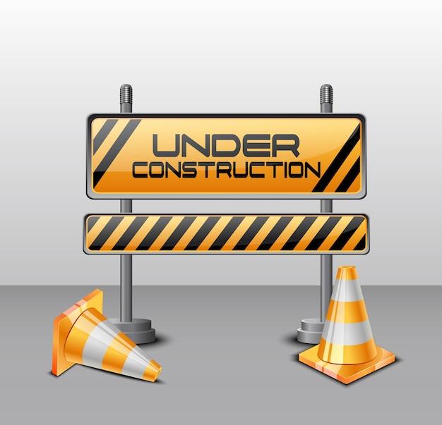 Vetorial, ilustração, de, sob, construção, barreira, com, cones