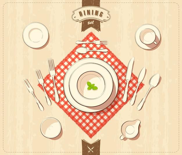 Vetorial, ilustração, de, tableware