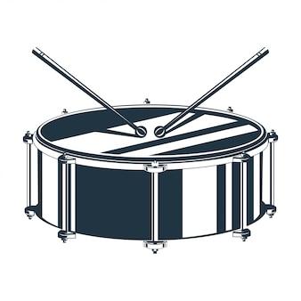 Vetorial, ilustração, de, tambor, com, drumsticks