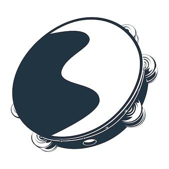 Vetorial, ilustração, de, tambourine