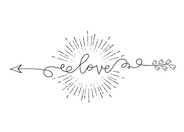 Vetorial, ilustração, de, tipografia, palavra, sinal, amor