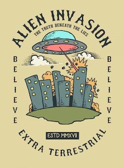 Vetorial, ilustração, de, ufo, alienígena, invadir, terra, e, cidade