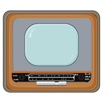 Vetorial, ilustração, de, um, antigas, aparelho de televisão, com, caso madeira