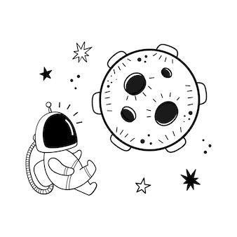 Vetorial, ilustração, de, um, astronauta, e, um, planeta