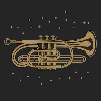 Vetorial, ilustração, de, um, bolso, trompete