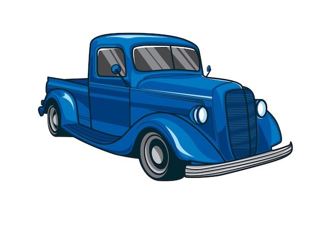 Vetorial, ilustração, de, um, clássicas, azul, caminhão, car
