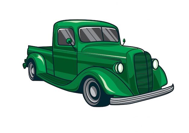 Vetorial, ilustração, de, um, clássicas, caminhão verde, car