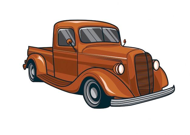 Vetorial, ilustração, de, um, clássicas, caminhão vermelho, car