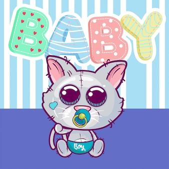 Vetorial, ilustração, de, um, cute, bebê, gato