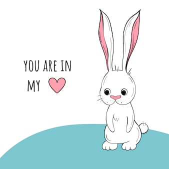 Vetorial, ilustração, de, um, cute, coelho