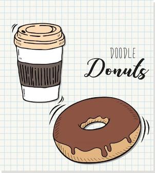 Vetorial, ilustração, de, um, donut, em, doodle, estilo