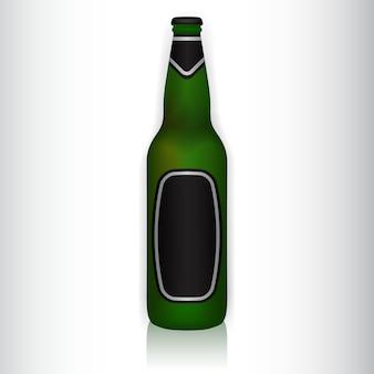 Vetorial, ilustração, de, um, garrafa verde vidro, com, adesivos
