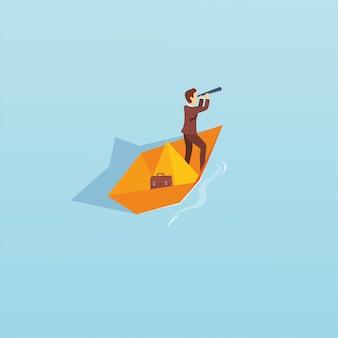 Vetorial, ilustração, de, um, homem, com, barco papel