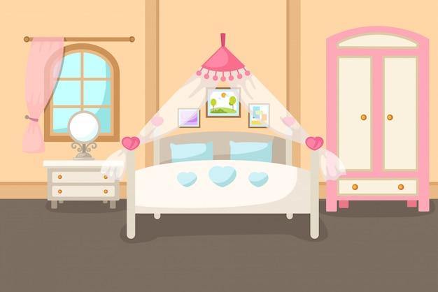 Vetorial, ilustração, de, um, interior quarto, com, um, cama, vetorial