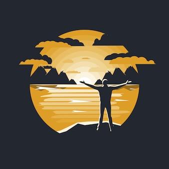 Vetorial, ilustração, de, um, paisagem montanha, e, homem