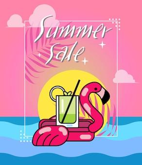 Vetorial, ilustração, de, verão, venda