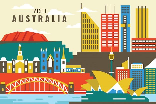 Vetorial, ilustração, de, visita, austrália