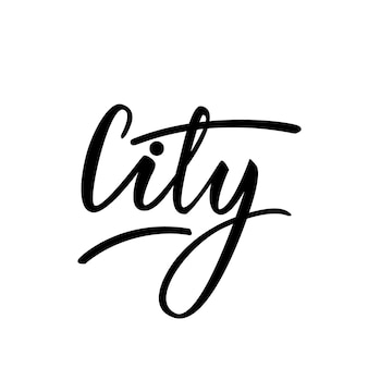 Vetorial, ilustração, lettering, desenho, palavra, cidade
