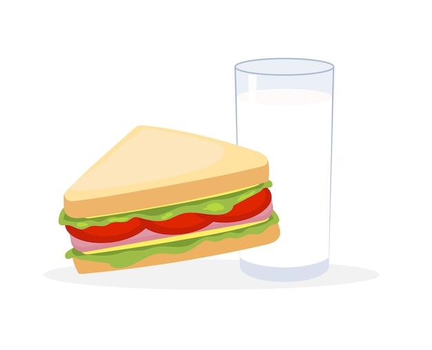 Vetorial, ilustração, sanduíches, e, leite
