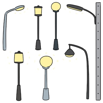 Vetorial, jogo, de, ao ar livre, lâmpada