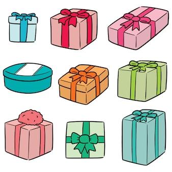 Vetorial, jogo, de, caixa presente